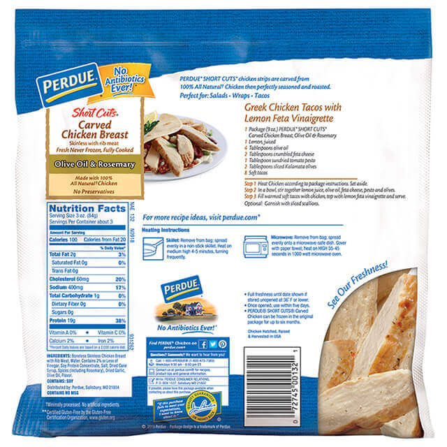 PERDUE® SHORT CUTS® Carved Chicken Breast, Olive Oil & Rosemary (9 oz.)