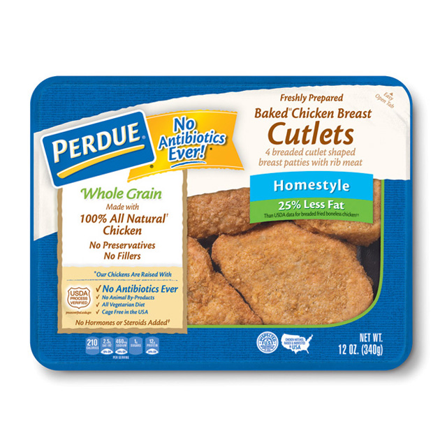 PERDUE® Refrigerated Whole Grain Breaded Chicken Breast Cutlets, Homestyle (12 oz.)