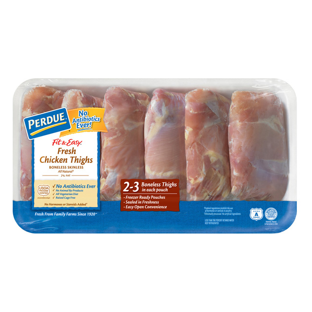 PERDUE® FIT & EASY® Fresh Boneless, Skinless Chicken Thighs, Freezer Ready Pouches®, for Clubs