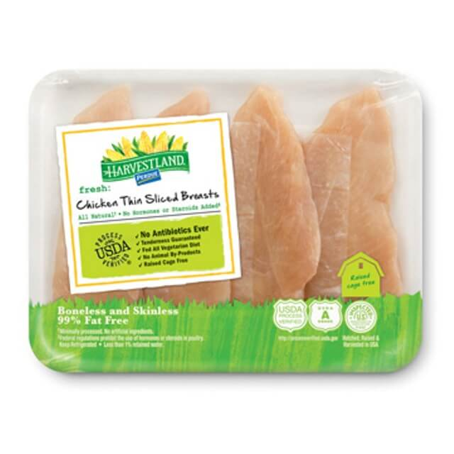 PERDUE® HARVESTLAND® Boneless Skinless Chicken Breast, Thin sliced
