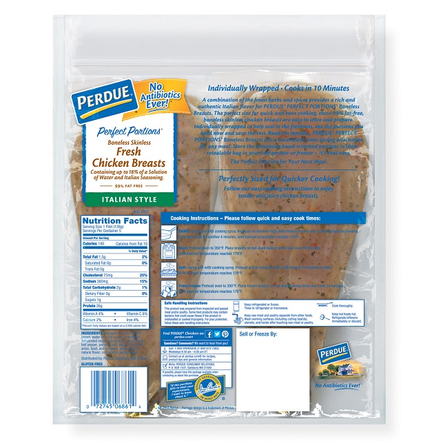 PERDUE® PERFECT PORTIONS® Boneless, Skinless Chicken Breasts, Italian Style (1.5 lbs.)