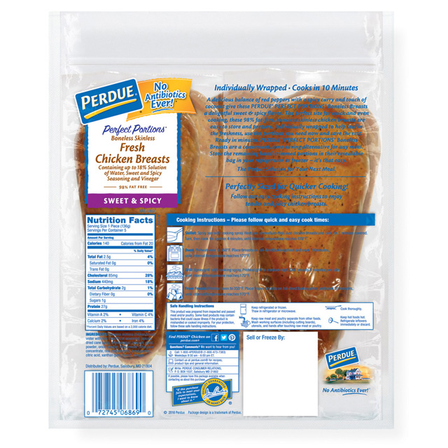 PERDUE® PERFECT PORTIONS® Boneless, Skinless Chicken Breasts, Sweet & Spicy Flavor,  (1.5 lbs.)