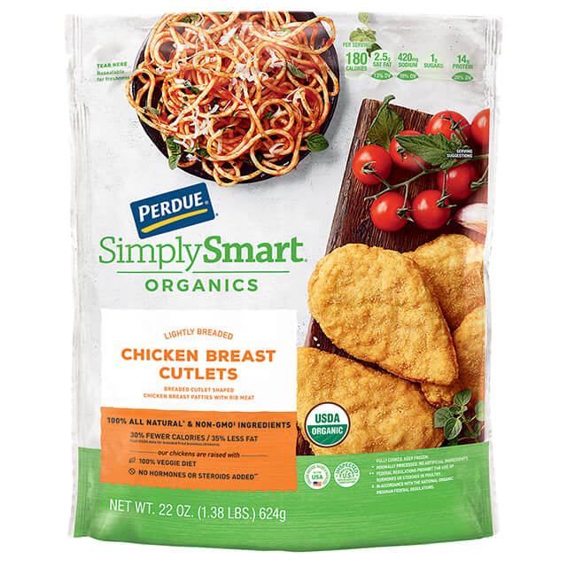 PERDUE® SIMPLY SMART® ORGANICS Lightly Breaded Chicken Breast Cutlets (22 oz.)