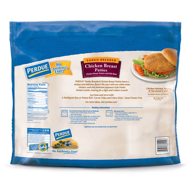 PERDUE® Fully Cooked Panko Breaded Chicken Breast Patties (5 lbs.)
